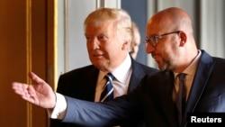 Predsjednik SAD Donald Tramp sa belgijskim premijerom Šarlom Mišelom