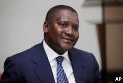 FILE - Nigerian billionaire businessman Aliko Dangote.