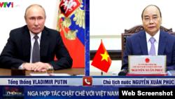 Russian President Vladimir Putin holds talks with Vietnam's State President Nguyen Xuan Phuc on September 16 2021. Photo VTV.