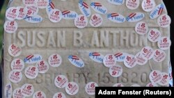"The grave of women's suffrage leader Susan B. Anthony is pictured covered with ""I Voted"" stickers from the U.S. presidential election at Mount Hope Cemetery in Rochester, New York November 8, 2016."