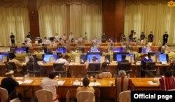 ေနျပည္ေတာ္မွာ က်င္းပတဲ့ JICM အစည္းအေ၀းပဲြ ျမင္ကြင္း။ (ဓာတ္ပံု - Myanmar State Counsellor Office - ၾသဂုတ္ ၁၃၊ ၂၀၂၀)