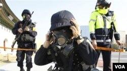 Korea Selatan meningkatkan pertahanannya dengan pelatihan menghadapi teroris di Seoul, Korea (15/11).