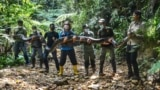 This picture taken on September 21, 2021 shows wildlife rangers posing with a sedated 9-meter long python, estimated to weigh about 100 kilograms, they caught near a village in Kampar and later released back into the neighbouring jungle of Palalawan.
