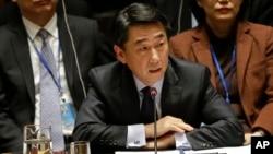 지난 22일 미국 뉴엔 본부에서 열린 유엔 안보리 회의에서 오준 한국 대사가 발언하고 있다.