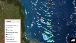 This Sept. 1, 2021, screen grab provided by the Allen Coral Atlas shows a map of the Great Barrier Reef in Australia. (Allen Coral Atlas via AP)