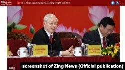 Tổng Bí thư Đảng CS VN Nguyễn Phú Trọng tại họp báo hôm 1/2/2021.