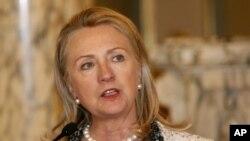 Sakatariyar harakokin wajen Amurka Hillary Clinton a Lima kasar Peru.