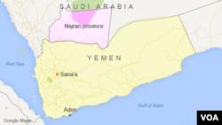 Peta Najran, Arab Saudi.