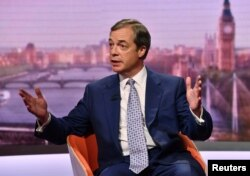 FILE - Brexit Party leader Nigel Farage appears on BBC TV's The Andrew Marr Show in London, Britain, May 12, 2019.