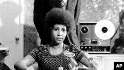 艾瑞莎·弗蘭克林參加一次記者會。(1973年3月26日)