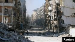 مشرقی حلب میں گولہ باری سے بڑے پیمانے پر تباہی۔ 28 نومبر 2016