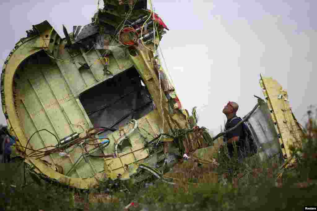A Malaysian air crash investigator inspects the crash site of Malaysia Airlines Flight MH17, near the village of Hrabove, Ukraine, July 22, 2014.