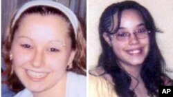 "These undated handout photos provided by the FBI show Amanda Berry, left, and Georgina ""Gina"" Dejesus. Cleveland Police Chief Michael McGrath said he thinks Berry, DeJesus and Michelle Knight were tied up at the house and held there since they were in their teens or early 20s."
