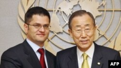 Sırbistan Dışişleri bakanı Vuk Jeremic ile BM Genel Sekreteri Ban ki Moon