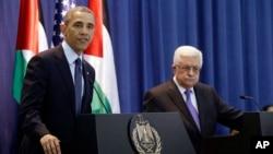美國總統奧巴馬星期四在和巴勒斯坦權力機構主席阿巴斯於拉馬拉舉行聯合記者會。