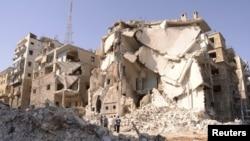 Последствия авиаударов. Алеппо, Сирия.