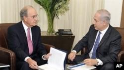 10月1日美国中东特使米切尔会晤以色列总理内塔尼亚胡