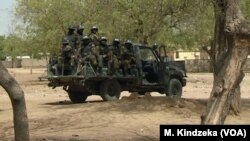 Soldiers of the rapid intervention battalion BIR, combat ready in Maroua, far northern Cameroon, Jan. 17 2019.