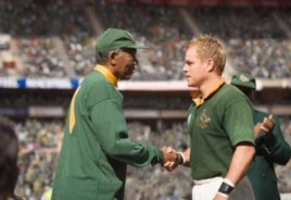 A scene from the recent Hollywood hit movie, Invictus, which was based on Mandela's unusual relationship with Springbok captain, Francois Pienaar. On the left is actor Morgan Freeman, as Mandela, and to the right is Matt Damon, as Pienaar