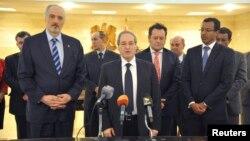 敘利亞副外長費薩爾2月5日在大馬士革記者會上講話。