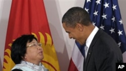 President Barack Obama and President Roza Otunbayeva of Kyrgyzstan.