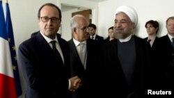 دیدار حسن روحانی با فرانسوا اولاند در حاشیه نشست مجمع عمومی سازمان ملل