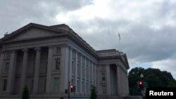 نمایی از ساختمان وزارت خزانه داری آمریکا در شهر واشنگتن