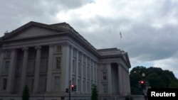 FILE - The U.S. Treasury building in Washington, D.C.