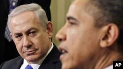 លោកប្រធានាធិបតីសរអ បារ៉ាក់ អូបាម៉ា ជួបពិភាក្សាជាមួយលោកនាយករដ្ឋមន្ត្រីអ៊ីស្រាអែល Benjamin Netanyahu នៅក្នុងសេតវិមានកាលពីថ្ងៃទី៥ ខែមិនាកន្លងទៅនេះ។