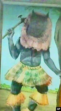 Drawing of Nyau dancer at Museum of Malawi, Blantyre.
