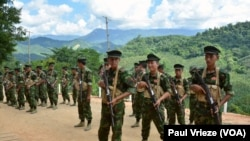 FILE - Kachin Independence Army cadets gather for drills at KIA Headquarters in Laiza, Myanmar, in October. (P. Vrieze/VOA)