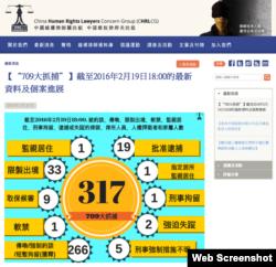 """""""709大抓捕""""截至2016年2月19日最新统计(中国维权律师关注组网页截图)"""