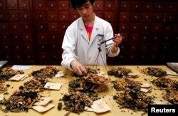 بیجنگ کی کیپیٹل میڈیکل یونیورسٹی میں جڑی بوٹیوں اور جانوروں کے اجزا سے روایتی دوائیں تیار کی جا رہی ہیں۔