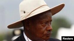 Ugandan President Yoweri Museveni attends anniversary parade in Kasese town, about 300 miles west of Kampala, Jan. 30, 2013 file photo.