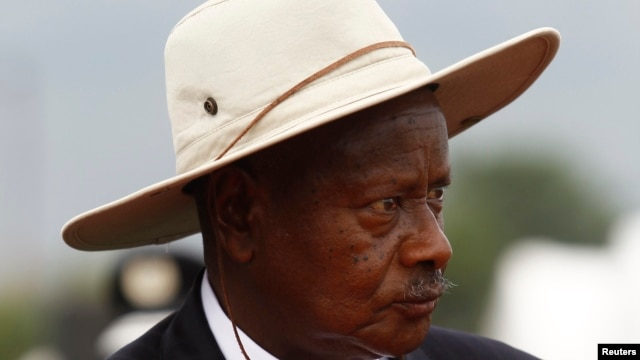 Ugandan President Yoweri Museveni attends anniversary parade in Kasese town, about 300 miles west of Kampala, Jan. 30, 2013 file photo.
