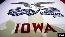 Bendera Negara Bagian Iowa, tempat penyelenggaraan Kaukus Partai Republik, 3 Januari 2012 (2/1).