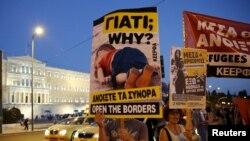 Atina da mülteci yanlısı gösteriler