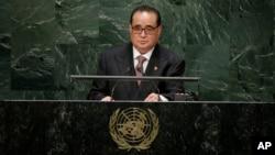 지난해 9월 리수용 북한 외무상이 제69차 유엔총회에서 회원국 대표연설을 하고 있다. (자료사진)