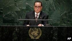제69차 유엔총회에서 회원국 대표연설을 하고 있는 리수용 북한 외무상. (자료사진)