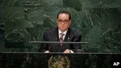 제69차 유엔총회에서 회원국 대표연설을 하고 있는 리수용 북한 외무상