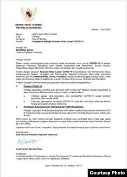 Surat bernomor 003/S-SKP-ATGP/IV/2020 dengan kop Sekretariat Kabinet berisikan kerja sama sebagai relawan desa lawan COVID-19. (Foto courtesy: Setkab).