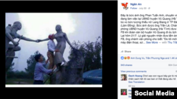 The photo of a Vietnamese official kissing a statue can be seen in this screenshot of a Facebook page. (VOA Vietnamese)