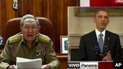 Tổng thống Hoa Kỳ Barack Obama (phải) và Chủ tịch Cuba Raul Castro đọc diễn văn loan báo về việc nối lại bang giao, 17/12/14