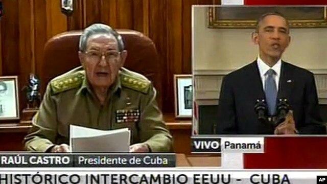 Los presidentes de Cuba, Raúl Castro, y de Estados Unidos, Barack Obama, hacen el anuncio simultáneo sobre la renovación de las relaciones diplomáticas entre los dos países.