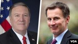 مایک پمپئو وزیر خارجه آمریکا(چپ) و جرمی هانت وزیر خارجه بریتانیا