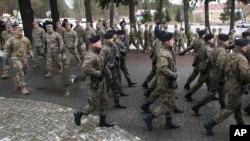 Официальная церемония размещения американского контингента в городе Заган, Польша. 12 января 2017 г.