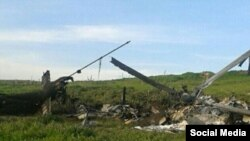 Ermənistan tərəfi vurulmuş Azərbaycan helikopterinin şəklini yayıb.