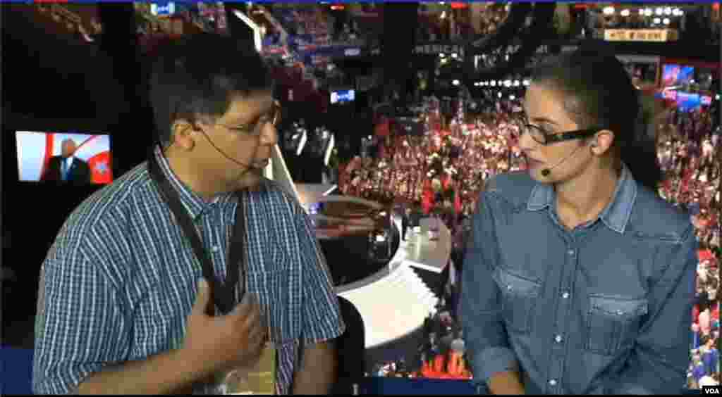 VOA Persian's Farhad Pouladi and Negar Mohammadi reporting from the Republican National Convention in Cleveland