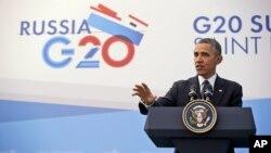 El presidente Barack Obama habla durante la conferencia de prensa al final de la Cumbre del G-20 en San Petersburgo, Rusia.