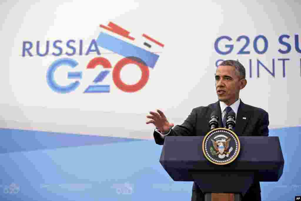 바락 오바마 미국 대통령이 6일 러시아 상트페테부르크의 G20 정상회의 기자회견장에서 발언하고 있다.